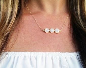 Moonstone Triple Round Pendant Necklace - ocean jewelry, beach jewelry, gold layered necklace, minamalist necklace, aloha, hawaii, kauai