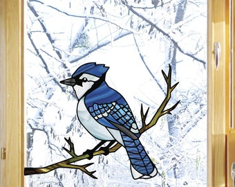 CLR:WND - Blue Jay Bird Perched on Branch - Stained Glass Style Vinyl Decal for Windows ©YYDC (Size Choices)