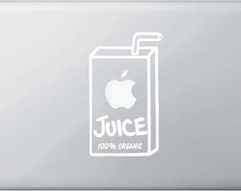 "MB - Apple Juice Box Organic - Macbook Laptop Vinyl Decal Graphic (3.25""w x 5.75""h) (Color Choices)"