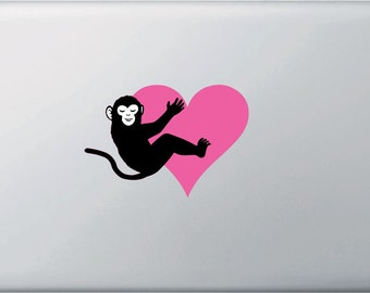 """CLR:MB - Monkey Hugging Heart - Vinyl Decal for Laptop Macbook - © 2016 YYDCo. (5""""w x 3.5""""h) (Color Choices)"""