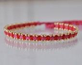 Silk woven bracelet, 14k gold filled and silk bracelet, gold bracelet, pink bracelet, pure silk macrame bracelet