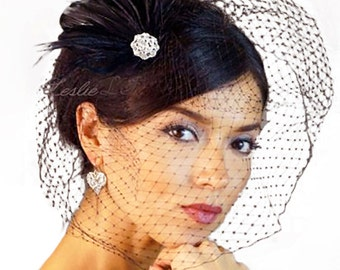 Leslie Li  Black Bridal Birdcage Veil with Black Fan Feather Fascinator 21-F32
