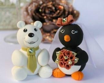 Polar bear and penguin wedding cake topper, custom cute cake topper with banner