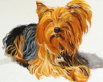 Custom dog portrait 10 X 14 - hand painted, pet painting
