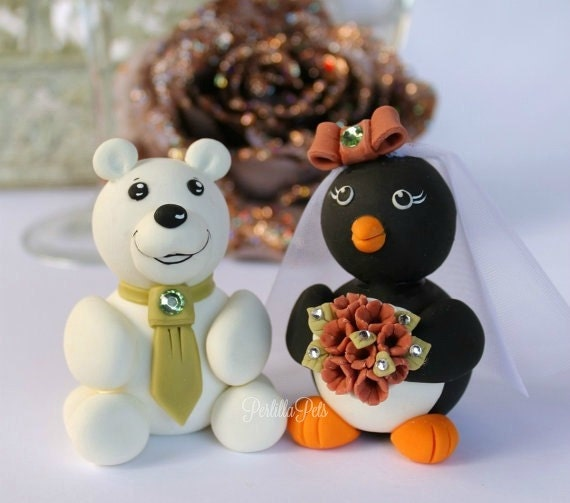 Polar Bear And Penguin Wedding Cake Topper Custom Cute
