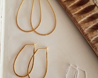 Hammered Oval Hoop Earrings
