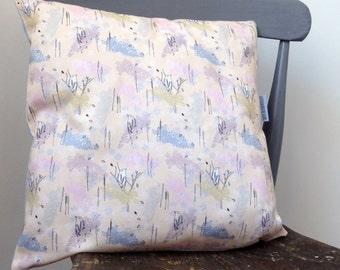 Yellow Bird 40cm cushion- bird pillow- patterned pillow- pale yellow pillow- home decor- surface pattern- bird cushion- made in UK