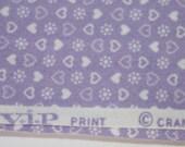 Cotton Fabric V.I. P. Print, Cranston Print Works Company, Purple Lavendar Hearts and Flowers  1 1/4 Yard