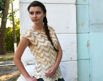 Hand Knit Woman top, Ombre sweater, bohemian clothing , loose knit top, tank top with bow, beige top, Rustic jacket, ready to ship