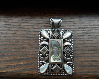 Large Sterling Silver Pendant With Mother of Pearl and Abalone stones Signed SETA