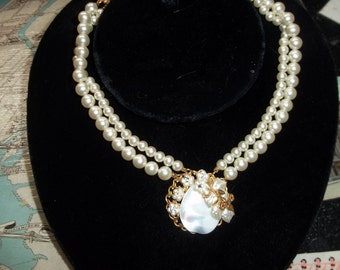Mariam Haskell? pear/shell choker style necklace