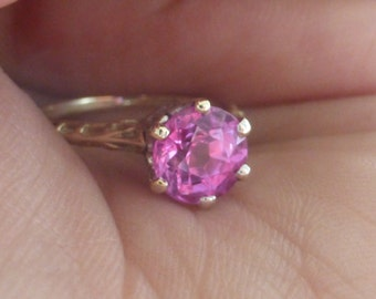 Antique 14k  J.R. Wood & Sons signed Pink sapphire solitaire ring size 6
