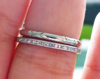 Vintage 18k JABEL Engraved eternity wedding band ring