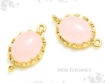 2 pcs Dark Pink Crown Setting Domed Smooth Oval Glass Pendants, Connectors, Gold Plated over Brass Jewelry Findings // 10mm x 17mm // XXX