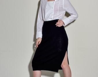 Extra Fine Merino Wool Split Skirt - Black Split Skirt - Knitwear Skirt - Wool Skirt - Free Shipping