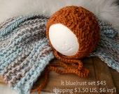newborn photography prop, baby boy blue rust baby blanket and textured bonnet set, newborn baby boy photo prop, baby shower gift