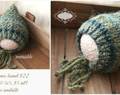 ready to ship newborn pixie bonnet hat newborn photography prop, olive green blue knitted baby boy pixie bonnet hat, newborn boy photo prop