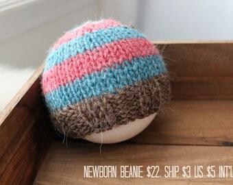 newborn photography prop, red brown blue striped beanie hat with button, 0-2 months-soft to skin alpaca mix yarn-baby shower gift