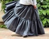 Maxi skirt - Plus size - Gypsy long gray tiered skirt - Boho skirt - Bohemian skirt -  Summer skirt - Full Large Skirt