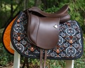 Ready to Ship - Black, Orange, and Silver Halloween Spiders and Skulls Saddle Pad