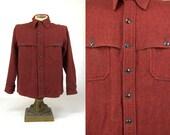 Vintage Hunting Jacket Eddie Bauer Black & Red Plaid Mackinaw Style Wool Hunting Jacket