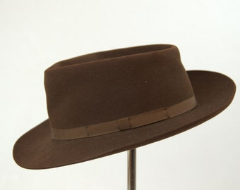 1940s Dobbs Brown Wool Wide Brim Fedora Hat