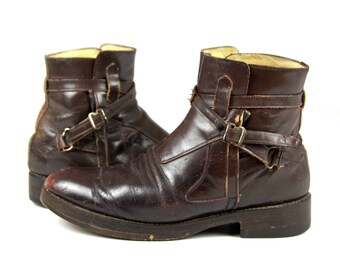 RARE 1960 Navarro Bros Famous Bench Made Rich Leather Ankle Strap Mod Buckle Boots Mens 10.5