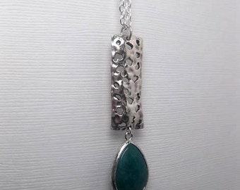 Vertical Bar Necklace With Green Jade Drop - Silver Bar - Custom Chain Length