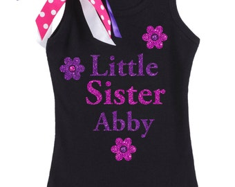 Little Sister Shirt Purple Flower Personalized Little Sister Gift Little Sister Big Sister Outfit Matching Sibling Shirt sister announcement