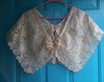 Antique Hand Made Lace Capelet...Victorian Era...Brussels Duchesse Lace...FREE SHIPPING