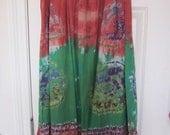 Vintage skirt boho folk tie dye cotton prairie style print maxi style M L