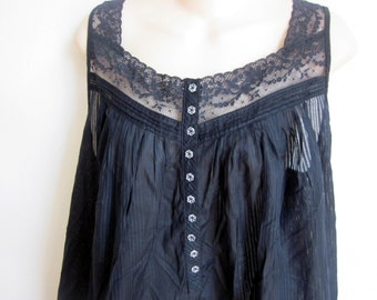 Vintage cotton nightgown black cozy cool button front prairie style L large
