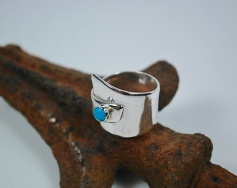 Boho Ring - Sterling Silver and Turquoise Ring - Wide Band Ring - Bohemian Turquoise and Silver Ring - Hippie Ring