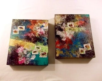 """2 Piece COMBO!  Mixed-media on canvas, insect postage stamps and leaf imprints, 8""""x10""""x1.5"""" (deep)"""