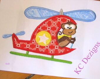 Safari Pilot Monkey Machine Applique Embroidery Design - 5x7 & 6x8