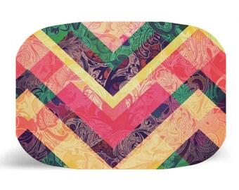"""Melamine Platter, Bold Geometric Design Melamine Platter, Dinner Plate, 10"""" plate, Shabby Chic, Geometric Plate, geometric design"""