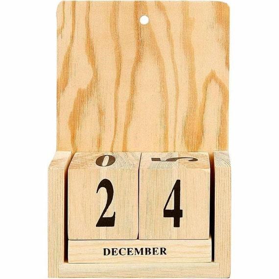 Plain wood calendar date month block cubes by crabtreelaneshop for Plain wooden blocks for crafts