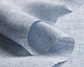 SPECIAL LISTING for RACHAEL: heavy linen curtain / drape in light blue, with stripes