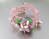 Pretty Vintage Western Germany Glass Bead Bracelet. Memory Wire shabby bracelet, Pink 3 strand beaded bracelet. Pink Opal Crystal Bracelet.