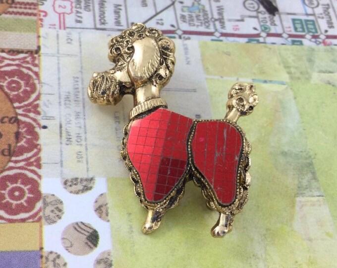Vintage Poodle Brooch pin, Poodle in red brooch, cute figural pin. Dog brooch. Gold Poodle Brooch. Red Brooch.