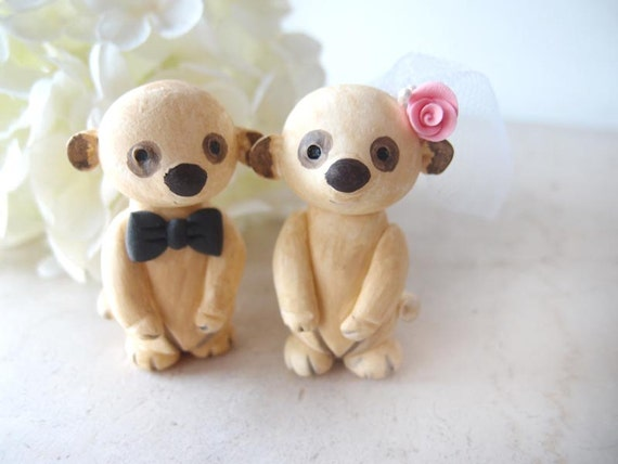 Hand Sculpted Wedding Cake Toppers - Meerkats