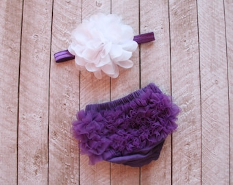 Baby Girl Ruffle Bottom Bloomer & Headband Set in Purple - Newborn Photo Set - Infant Bloomers - Diaper Cover- Baby Gift - by Couture Flower