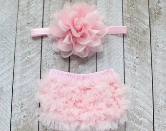 Baby Girl Ruffle Bottom Bloomer & Headband Set in Light Pink - Newborn Photo Set - Infant Bloomers - Diaper Cover - Baby Gift