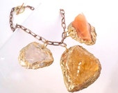 ON SALE-Minerals Pendant, long Neck Piece- Orange,Pink,Amber Calcite- Statement Necklace-Natural Minerals