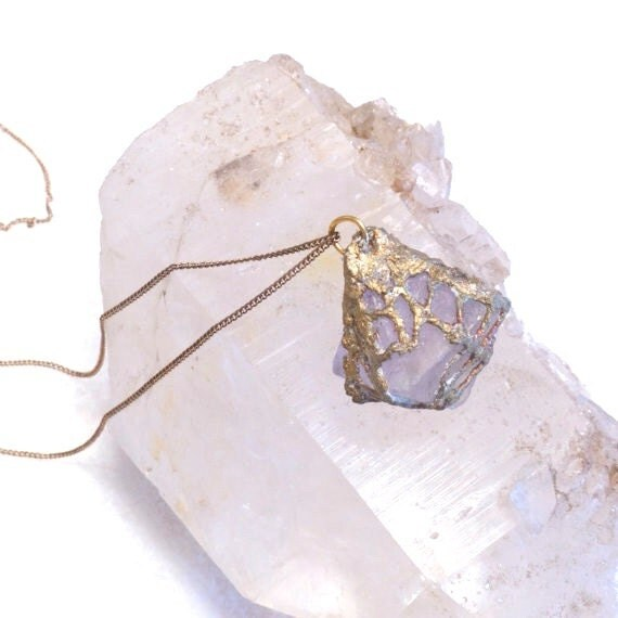 """Pale Lilac Octahedron Fluorite """"Sea"""" Necklace in Sculpted Gold Resin Mesh- Handmade -one of a kind-SALE-"""