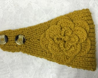 Yellow (mustard) knit headband, ear warmer with crochet flower