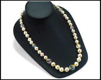30 Inch Long AB Crystal & Baroque Pearl Necklace, Long White Pearls, AB Crystal Necklace, Laguna New Old Stock, Gift For Her