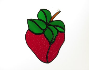 Stained Glass Strawberry Suncatcher - Price Includes Shipping