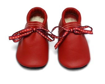 Navy and Red Lambswool lined soft sole leather baby and children's shoes, slippers, booties
