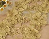 Gold Venise 3D Lace Trim for Bridal Headbands, Hair Flowers, Wedding Veils, Garters
